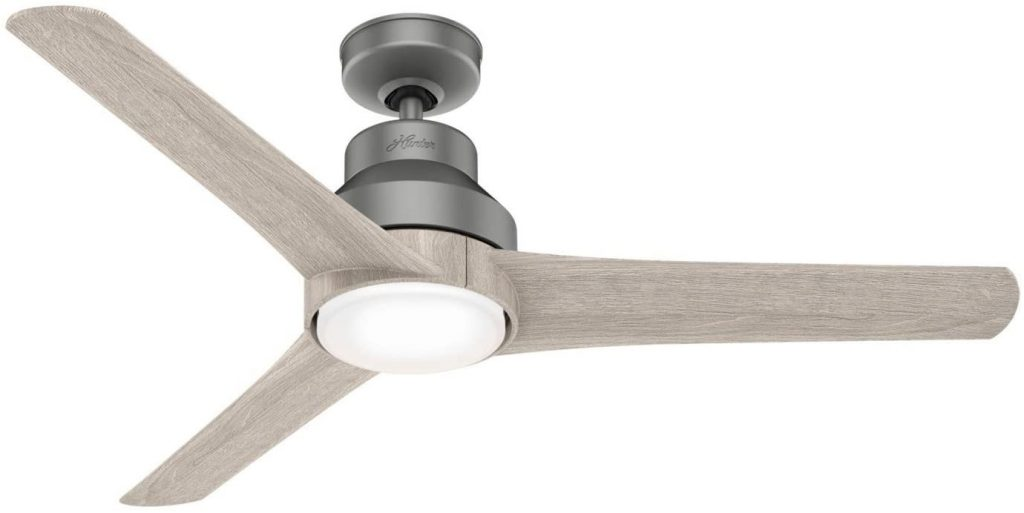 """Hunter Lakemont Indoor / Outdoor Ceiling Fan with LED Light and Remote Control, 52"""", Matte Silver"""