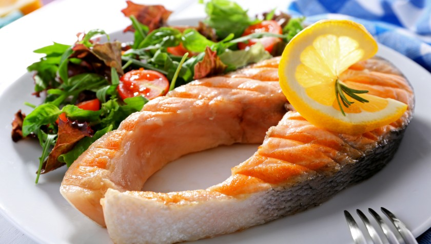 Grilled Salmon with Meyer Lemons and Creamy Cucumber Salad