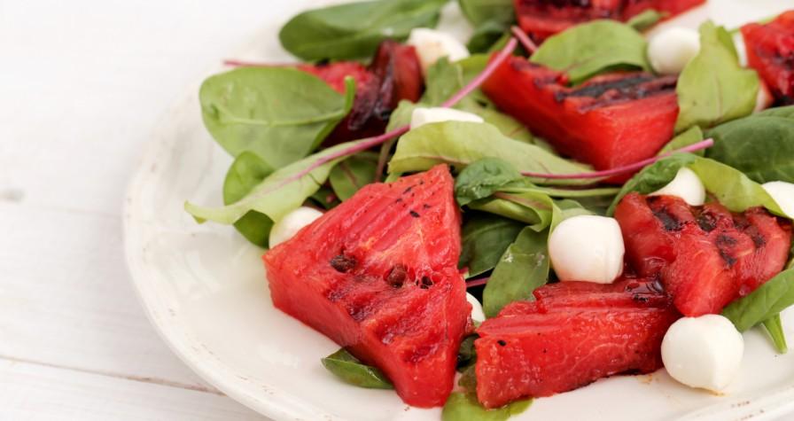 Grilled Watermelon, Feta, and Tomato Salad