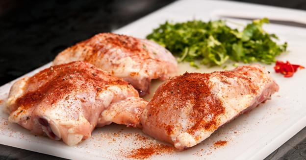 Preparing the chicken